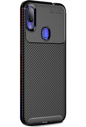 Redclick Xiaomi RedMi Note 7 Kılıf Negro Karbon Dizayn Silikon Siyah + Nano Cam