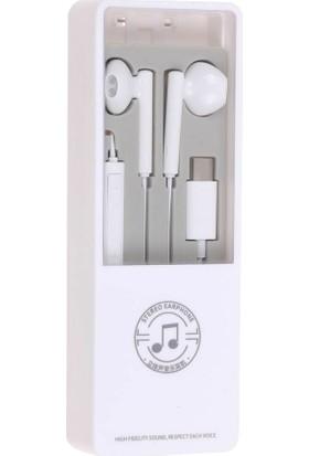 Aktif Aksesuar Stereo Type-C Mikrofonlu Kulakiçi Kulaklık Beyaz
