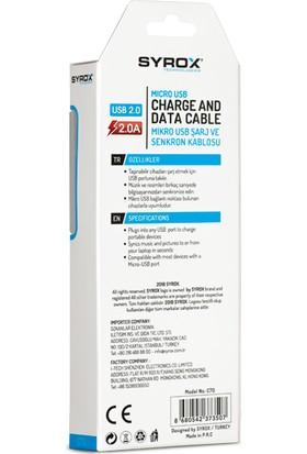 Syrox C70 Micro USB 2.0A Hızlı Şarj ve Data Kablosu