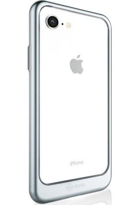 DVR Apple iPhone Roar 8 Kılıf Ultra Thin Ace Sert Plastik Kapak + Tam Ekran Cam Koruyucu Gri