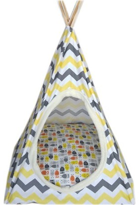 Nohov Kedi Köpek Çadırı Çizgi Desenli Yuva 50 x 90 cm Sarı - Gri