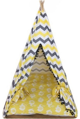 Nohov Kedi Köpek Çadırı Çizgi Desenli Yuva 55 x 100 cm Sarı - Gri