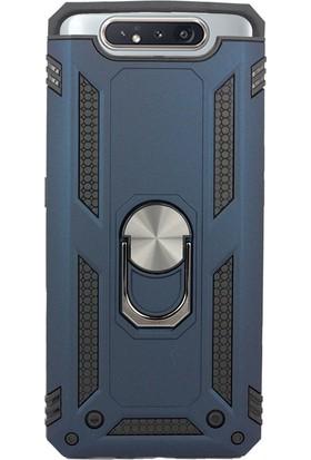 Case 4U Samsung Galaxy A80 Kılıf Çift Katmanlı Yüzüklü Manyetik Vega Kapak Lacivert