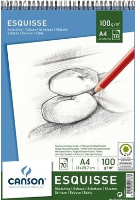 Canson Leisure Esquisse Spiralli Eskiz Çizim Defteri A4 100 Gr. 70 Sayfa