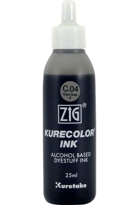 Zig Kurecolor Refill Alcohol Ink Mürekkep 25 Ml. C04 Cool Gray 4