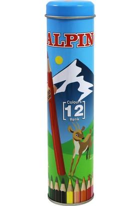 Alpino 12 Renk Kuru Boya Metal Kutu