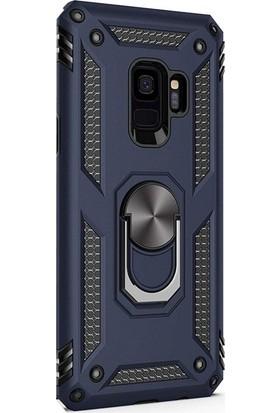 Case Street Samsung Galaxy S9 Plus Kılıf Vega Standlı Yüzüklü Mıknatıslı Lacivert