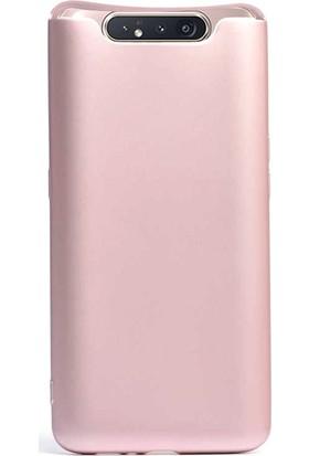 Case Street Samsung Galaxy A80 Kılıf Premier Silikon Esnek Koruma + Nano Glass Bronz
