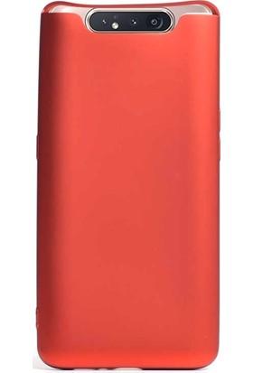 Case Street Samsung Galaxy A80 Kılıf Premier Silikon Esnek Koruma + Nano Glass Kırmızı