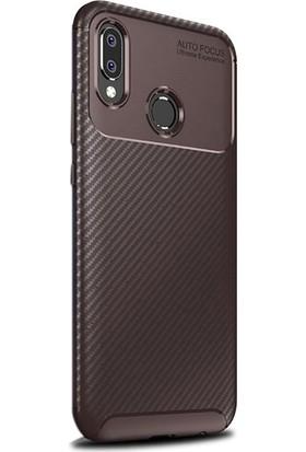 Gpack Samsung Galaxy A20e Kılıf Negro Karbon Dizayn Silikon + Nano Glass Kahverengi