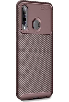 Gpack Huawei Honor 20 Lite Kılıf Negro Karbon Dizayn Silikon + Nano Glass Kahverengi