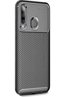 Gpack Huawei Honor 20 Lite Kılıf Negro Karbon Dizayn Silikon + Nano Glass Siyah