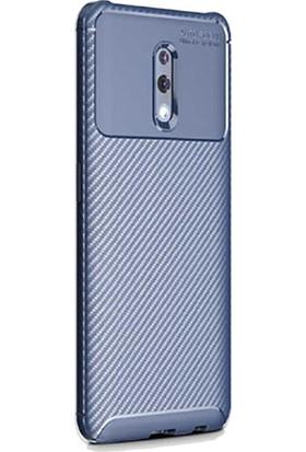 Gpack Oppo Reno Kılıf Negro Karbon Dizayn Silikon + Nano Glass Lacivert