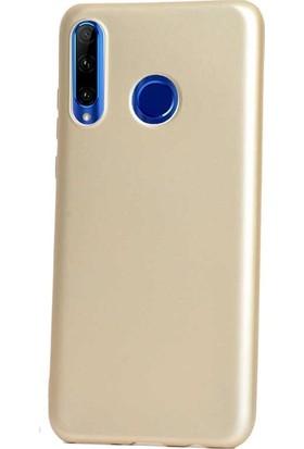 Gpack Huawei Honor 20 Lite Kılıf Premier Silikon Esnek Koruma + Nano Glass Gold