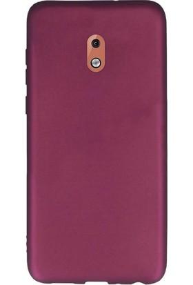 Gpack Nokia 1 Plus Kılıf Premier Silikon Esnek Koruma + Nano Glass Mürdüm