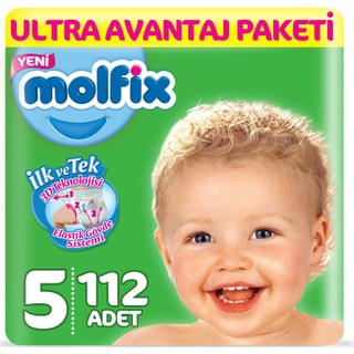 Molfix Bebek Bezi 5 Beden Junior Ultra Avantaj Paketi 112 Adet