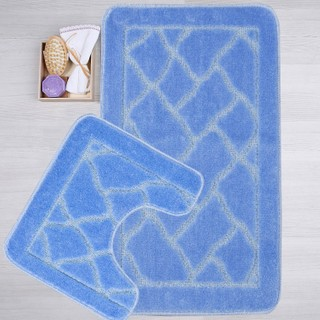 Hepsi Home Banyo Seti 2'Li Klozet Takımı Jel Tabanlı Mavi 50 x 80 cm
