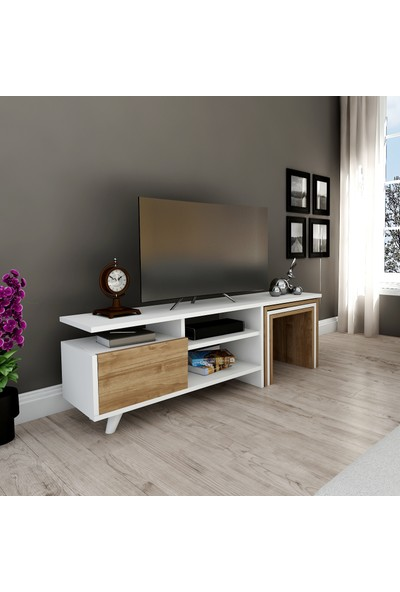 Hepsi Home Nature Zigon Sehpalı Tv Ünitesi - Tv Sehpası Beyaz-Ceviz