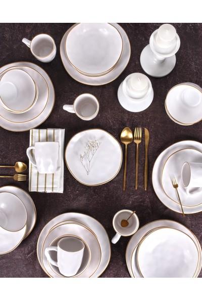 Keramika Beyaz Fileli Organik Yemek Takımı 30 Parça 6 Kişilik