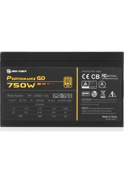 High Power 750W 80+ Gold Performance GD Aktif PFC Güç Kaynağı (HP1-J750GD-F12S)