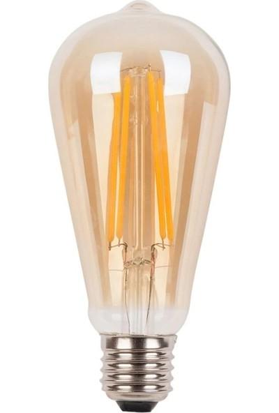 Edison St 64 Flamanlı Rustik Led Ampul 6 Watt Armut Model Rustik Ampul