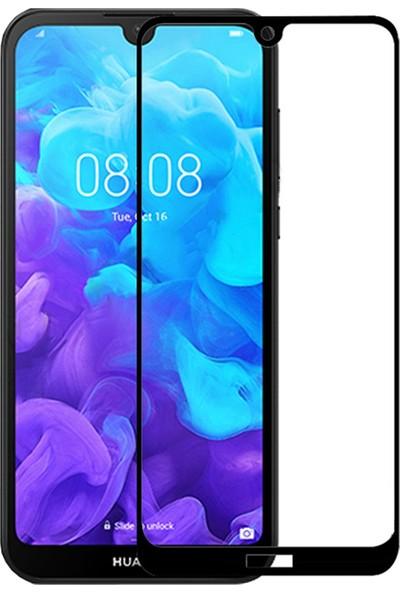 Cayka Huawei Y5 2019 5D Kavisli Temperli Cam Full Ekran Koruyucu Cam Siyah