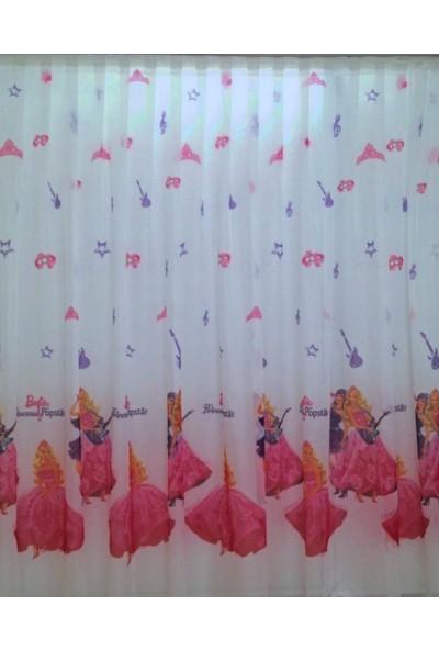 Caserta Home Pilesiz Lisanslı Kız Çocuk Odası Barbie Vual Tül Perde - 100x100 cm