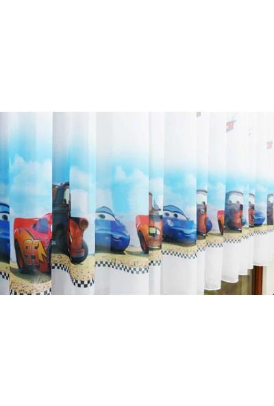 Caserta Home Pilesiz Lisanslı Kreş Çocuk Genç Odası Cars Arabalar Vual Tül Perde - 50x100 cm