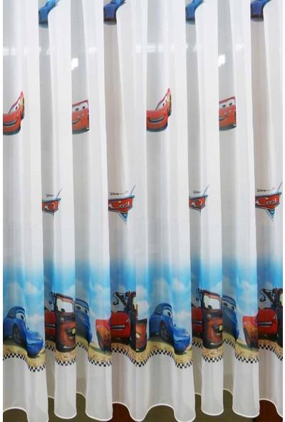 Caserta Home Seyrek Pile 1/2 Lisanslı Kreş Çocuk Genç Odası Cars Arabalar Vual Tül Perde - 50x100 cm