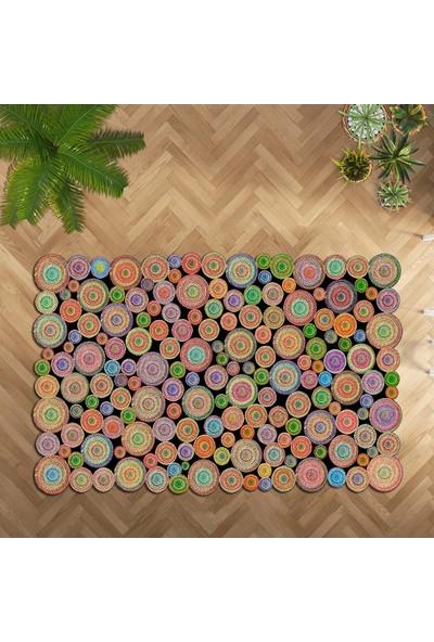 Halıforum Dekoratif Halı İnce Kaymaz Tabanlı Lazer Kesim Halı Yolluk Renkli Halı Hf-L075