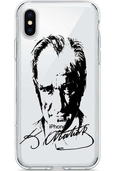 Vendas Apple iPhone XS Atatürk Silüeti ve İmzası Şeffaf Silikon Kılıf + Ekran Koruyucu
