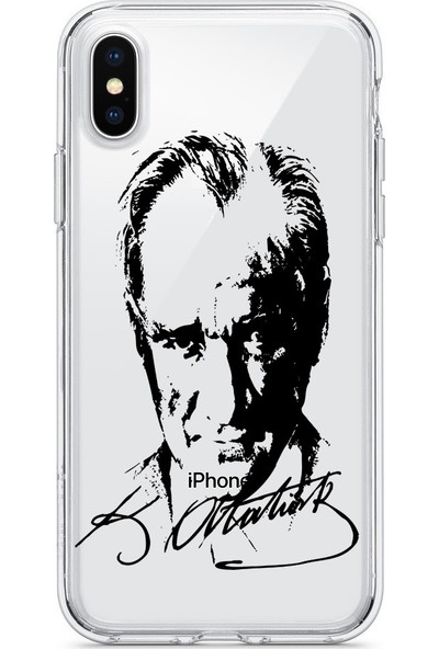 Vendas Apple iPhone XR Atatürk Silüeti ve İmzası Şeffaf Silikon Kılıf + Ekran Koruyucu