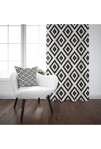 Else Siyah Beyaz Karo Geometrik Modern Fon Perde - 140X270CM