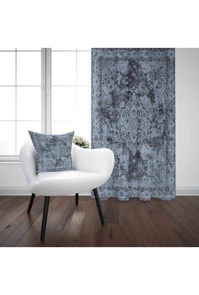 Else Mavi Şark Otantik Kilim Desenli Modern Fon Perde - 140X270CM