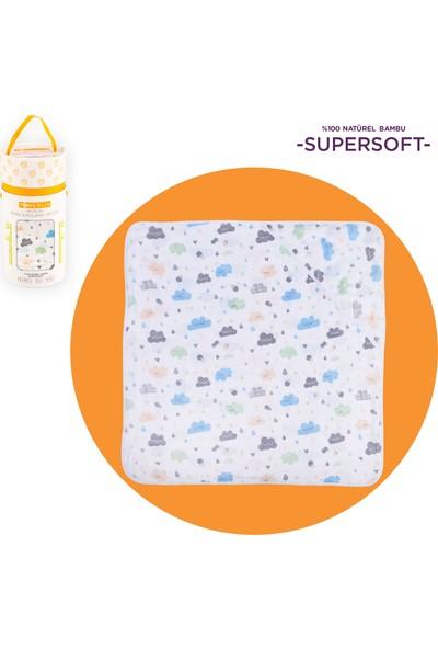 Toms Elia Müslin Başlıklı Bebek Kurulama Örtüsü - Mavi Bulut 80 x 80 cm