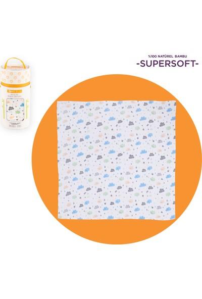 Toms Elia Müslin Bebek Örtüsü - Mavi Bulut 120 x 120 cm