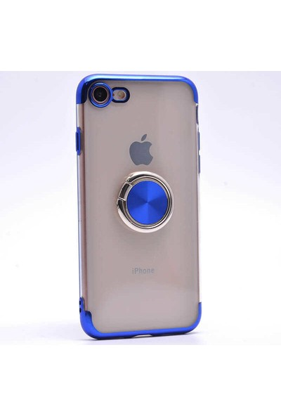 Makt Apple iPhone 7 Glitter Gess Silikon Ring Kılıf Mavi