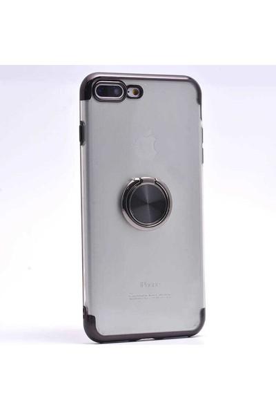 Makt Apple iPhone 8 Plus Glitter Gess Silikon Ring Kılıf Siyah