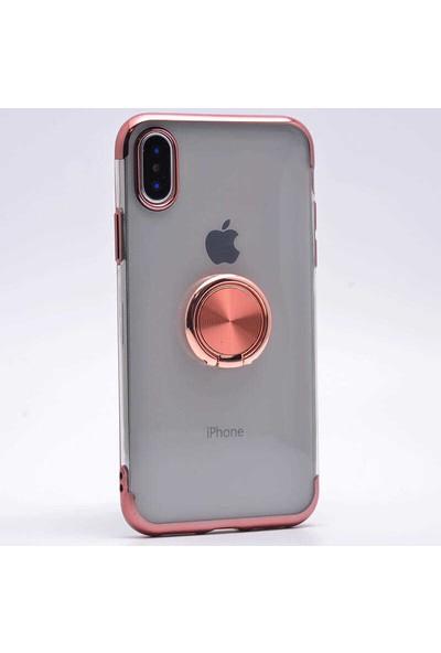 Makt Apple iPhone X Glitter Gess Silikon Ring Kılıf Rose Gold