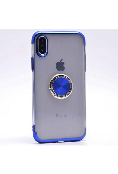 Makt Apple iPhone X Glitter Gess Silikon Ring Kılıf Mavi