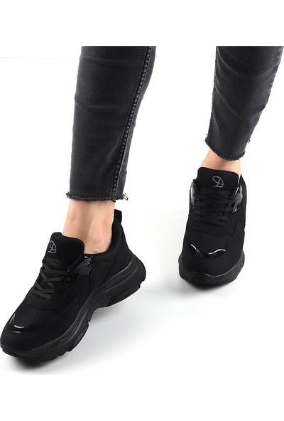 Dark Step Siyah Günlük Kalın Taban Kadın Spor Ayakkabı