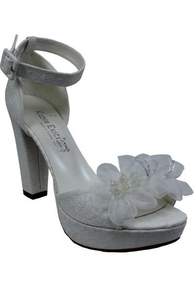 Kadir Ekici Beyaz Çiçekli Ayakkabı