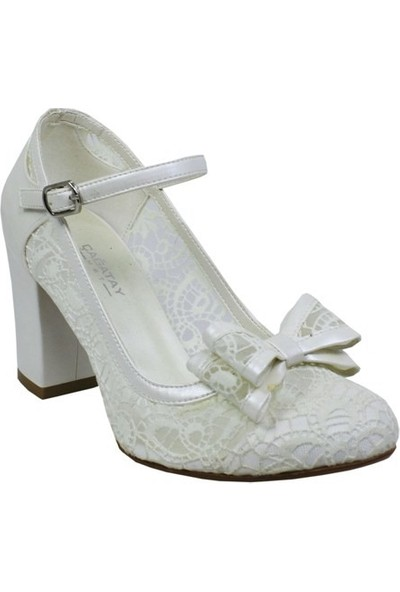 Kadir Ekici Krem Atkılı Kurdela Ayakkabı