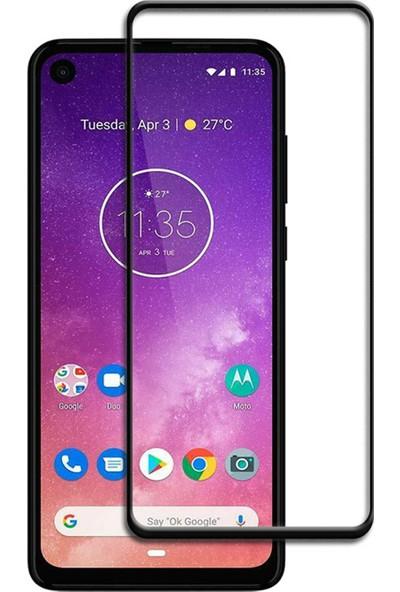 Microtase Motorola Moto One Vision Tam Kaplayan Çerçeveli Tempered Ekran Koruyucu - Siyah