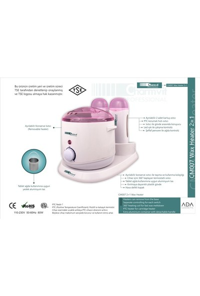 Charmvit Professional CM007 2+1 Ağda Makinesi