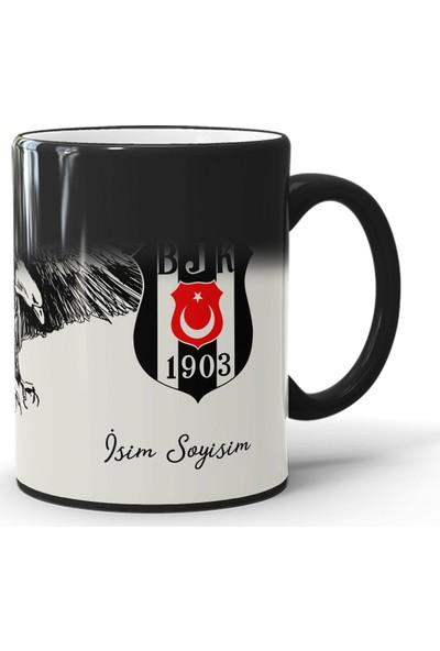 Endigift Beşiktaş Kişiye Özel Isim Baskılı Sihirli Kupa Bardak