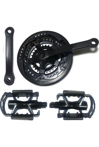 Hsgl Aynakol 48T Aluminyum Siyah Pedal Paket Set