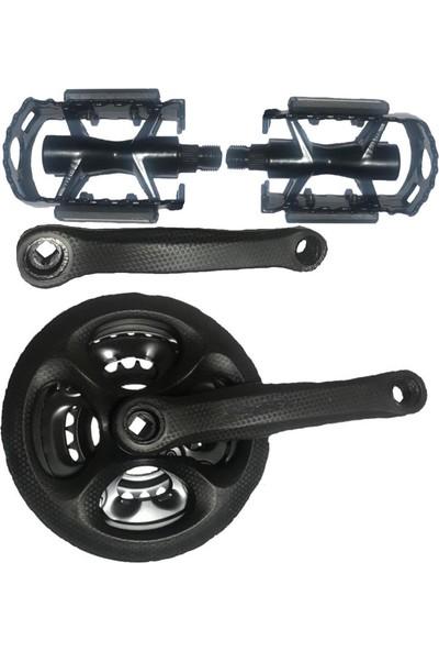 Hsgl Aynakol 42T Karbon Model ve Siyah Pedal Set