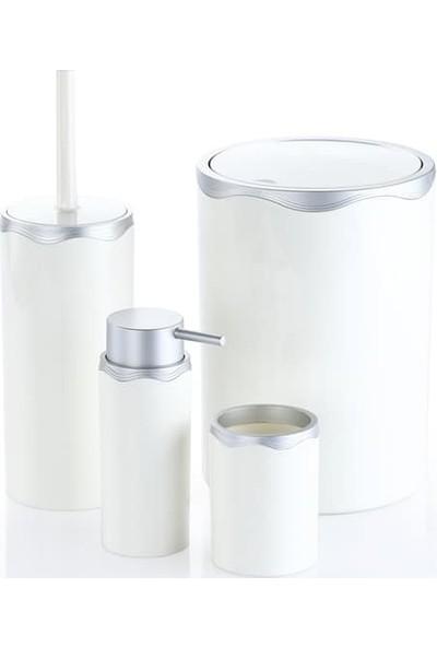 Azra Akrilik Banyo Takımı 4'lü Banyo Seti Beyaz Gümüş