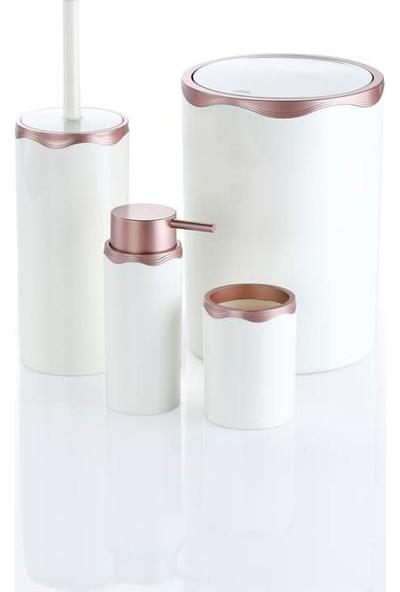 Azra Akrilik Banyo Takımı 4'lü Banyo Seti Beyaz Rose Gold
